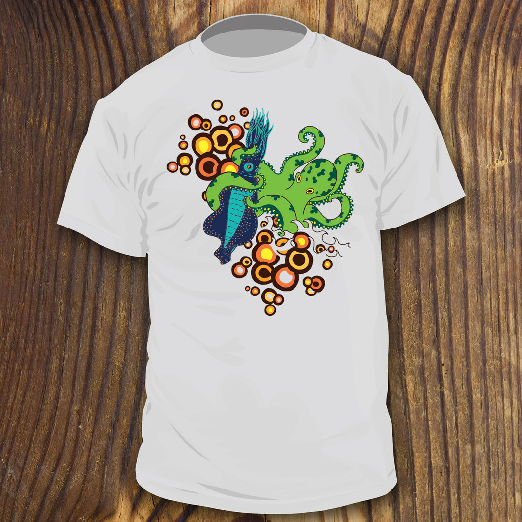 Retro colored Octopus vs Squid fight shirt design by RadCakes Shirts