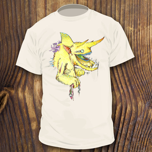 Yellow Monster with Chameleon Horns and Shark Fin shirt design by RadCakes Shirts