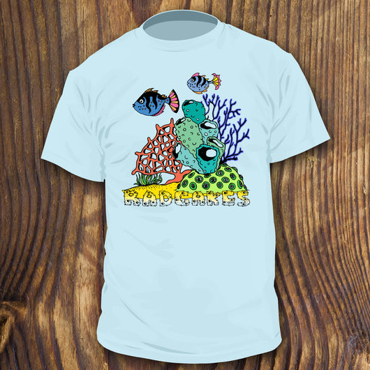Colorful Coral Reef shirt design with tropical fish by RadCakes Shirts