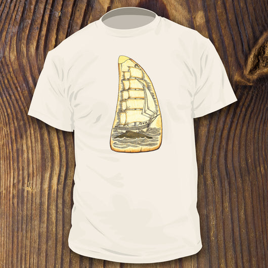 Scrimshaw shirt design by RadCakes Shirts whaling ship carving antique style artwork
