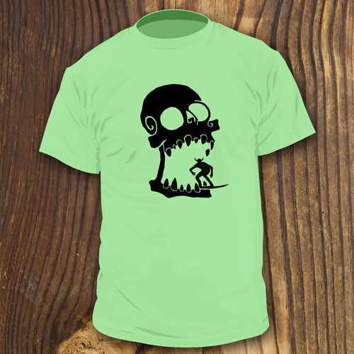 Skull Surfer shirt design by RadCakes Shirts Giant surfing devil