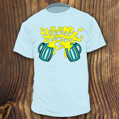 Sunday Funday Drinking shirt design by RadCakes Shirts Beer Mugs Tailgate gear