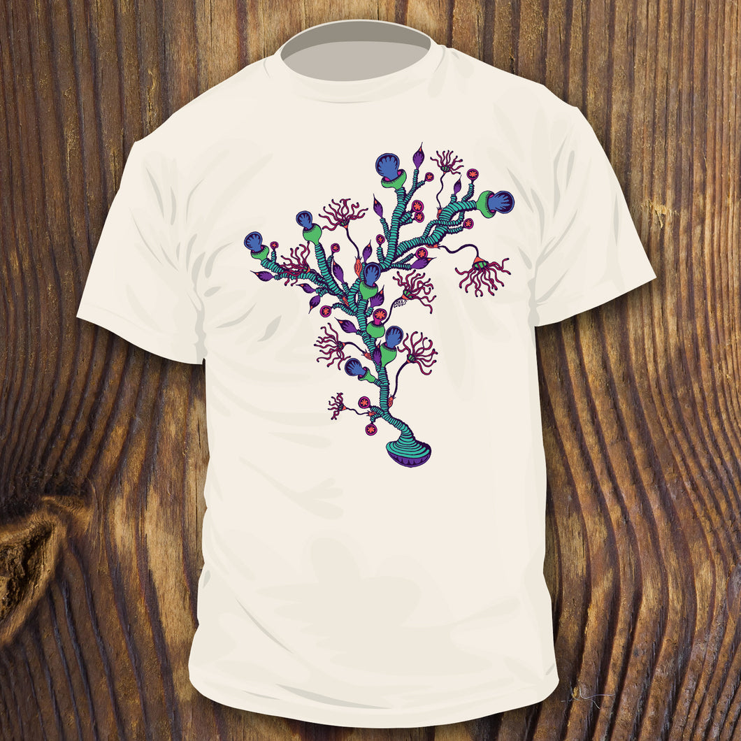 Trippy artwork seaweed coral shirt design by RadCakes Shirts