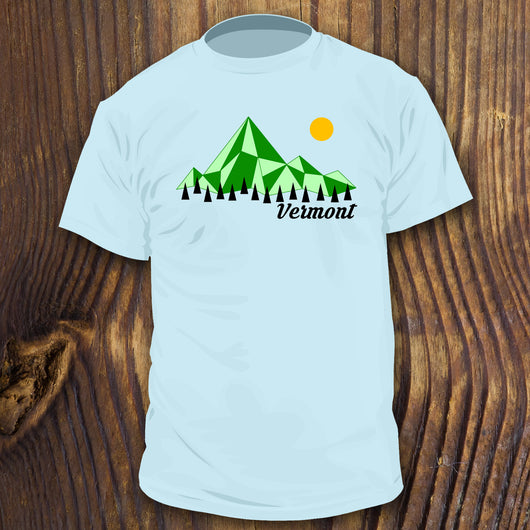 Retro Style Vermont shirt design by RadCakes Shirts with mountains and trees art