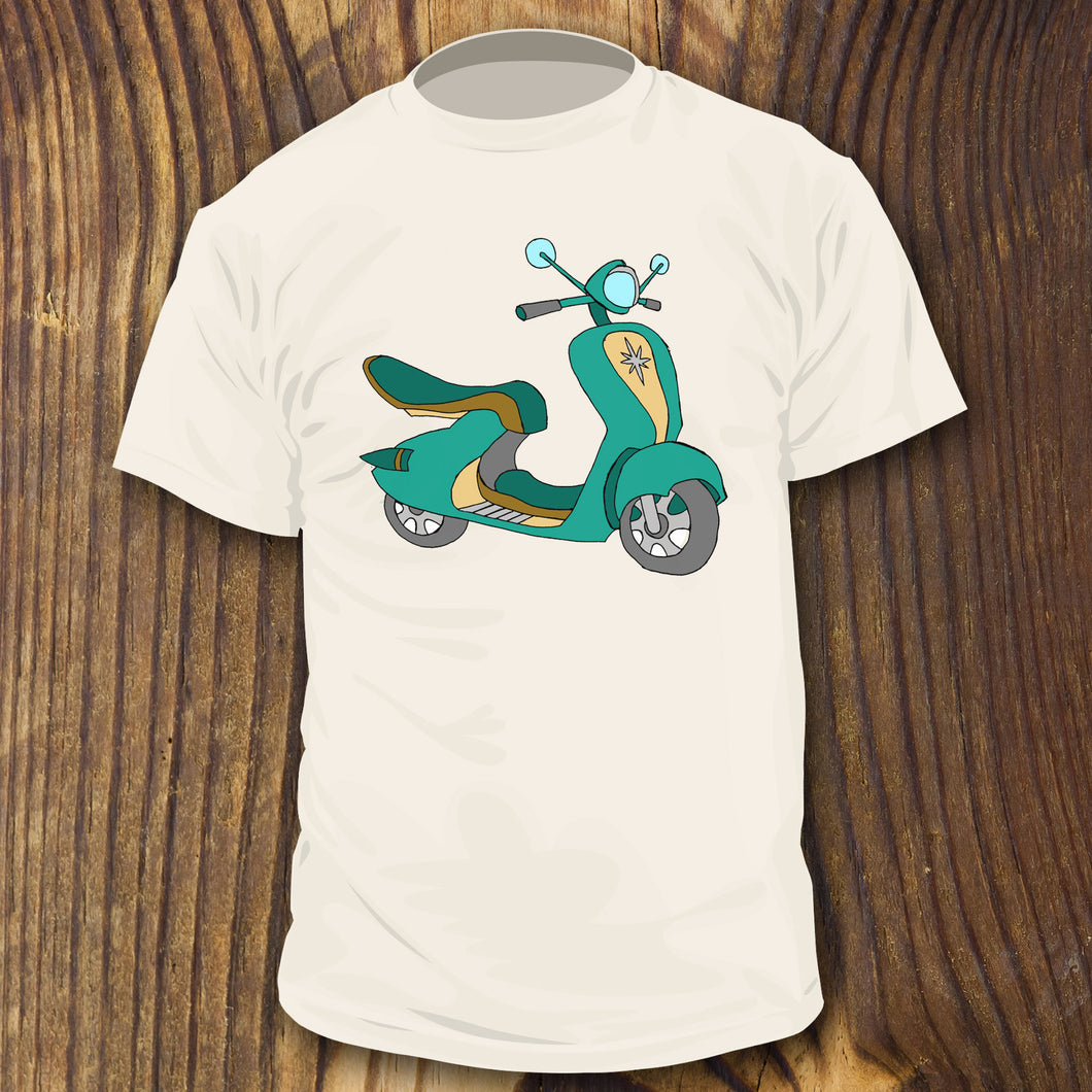 Mid Century style colors Vespa Scooter shirt design by RadCakes Shirts Bike