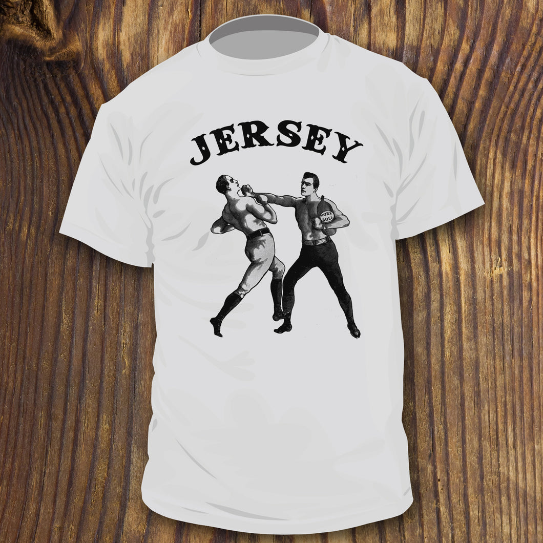 Funny New Jersey Pork Roll shirt with guys boxing punching by RADCAKES.com