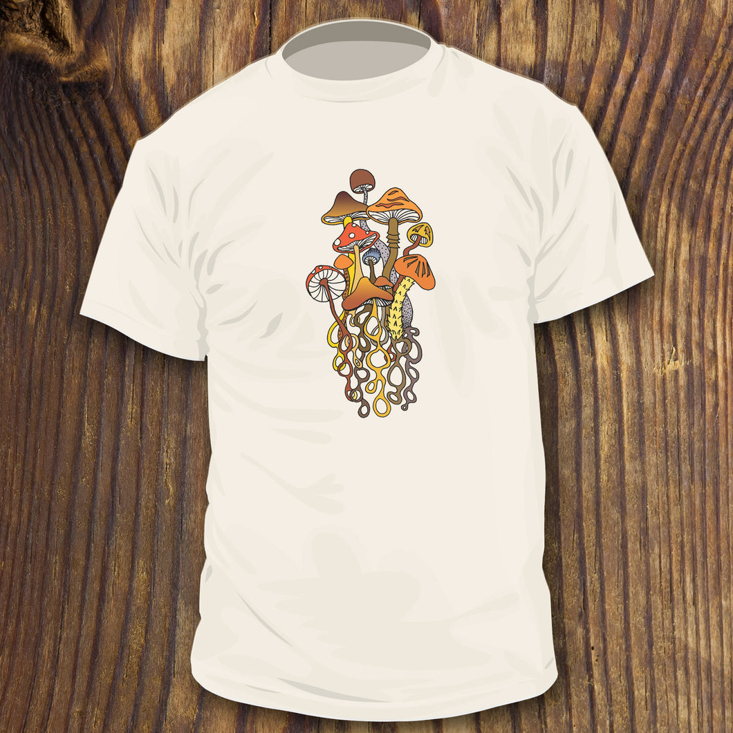 Trippy mushroom shirt design by RadCakes apparel printing, Manasquan NJ