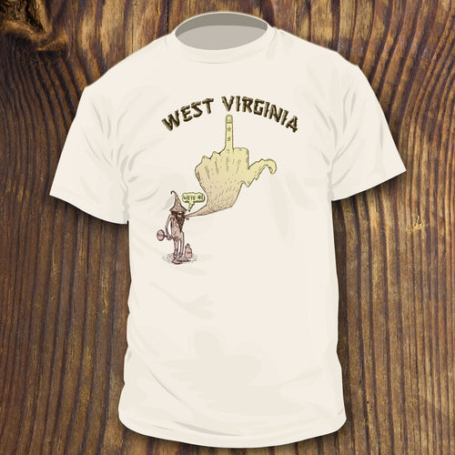 west virgina middle finger shirt sale design by radcakes.com funny appalachian design