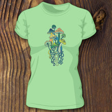 soft green triblend shirt with retro mushroom design