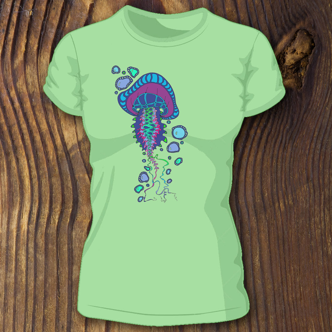 Soft Jellyfish shirt with long tentacles art design by RadCakes