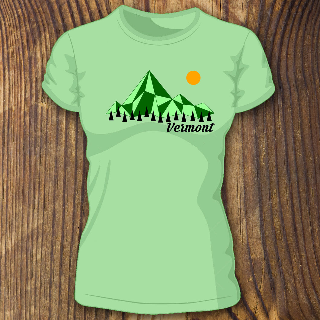 Green triblend Retro Vermont shirt design with Mountains and Trees by RadCakes