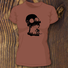 Clay triblend Bella Canvas shirt with Skull Surfer design by RadCakes