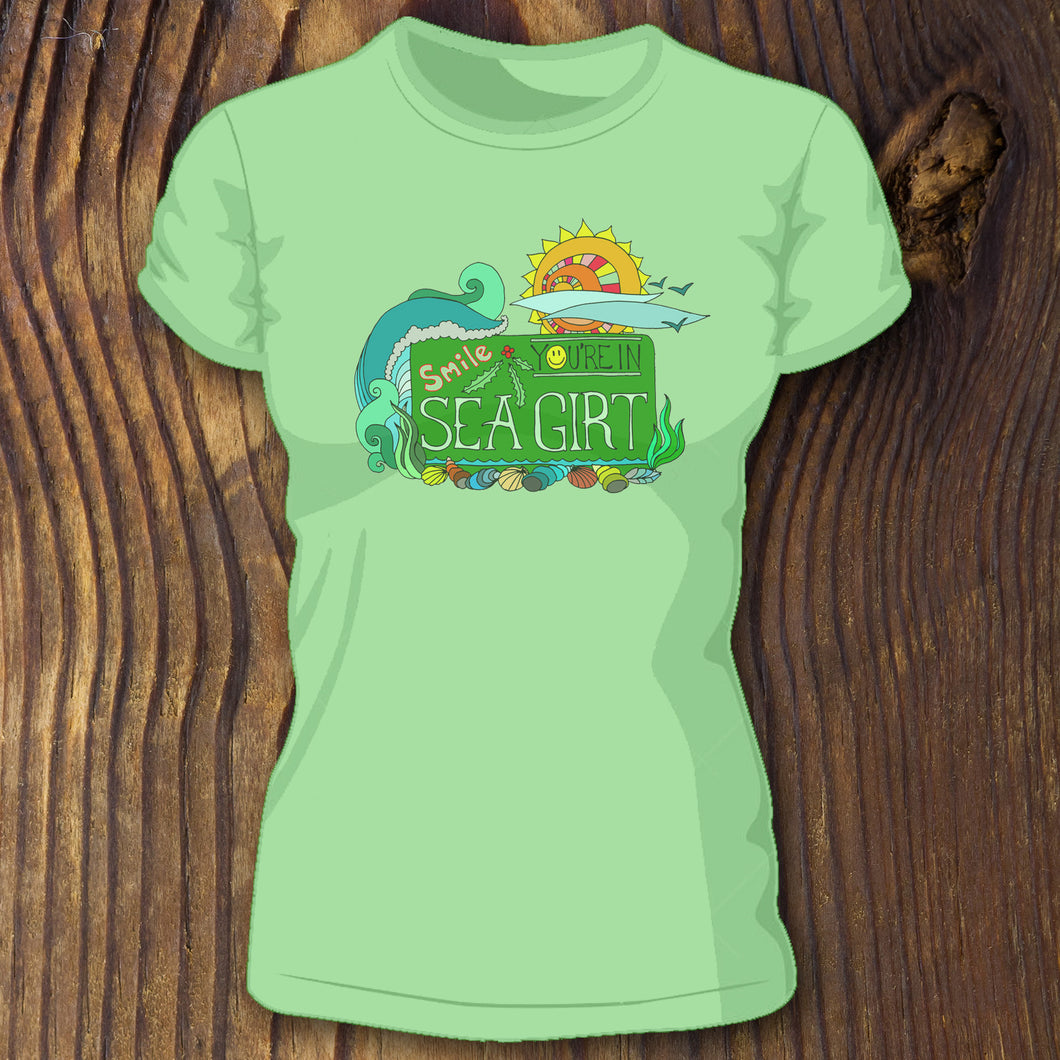 Smile You're in Sea Girt sign shirt by RadCakes New Jersey NJ