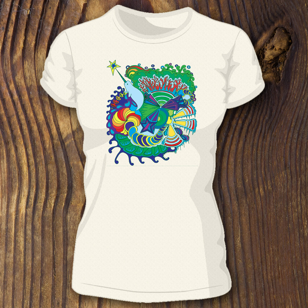 Trippy narhwal shirt design by RadCakes custom printing Manasquan NJ