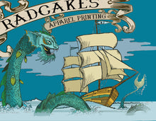 Sea monster vs ship artwork 2017 calendar RadCakes art designs