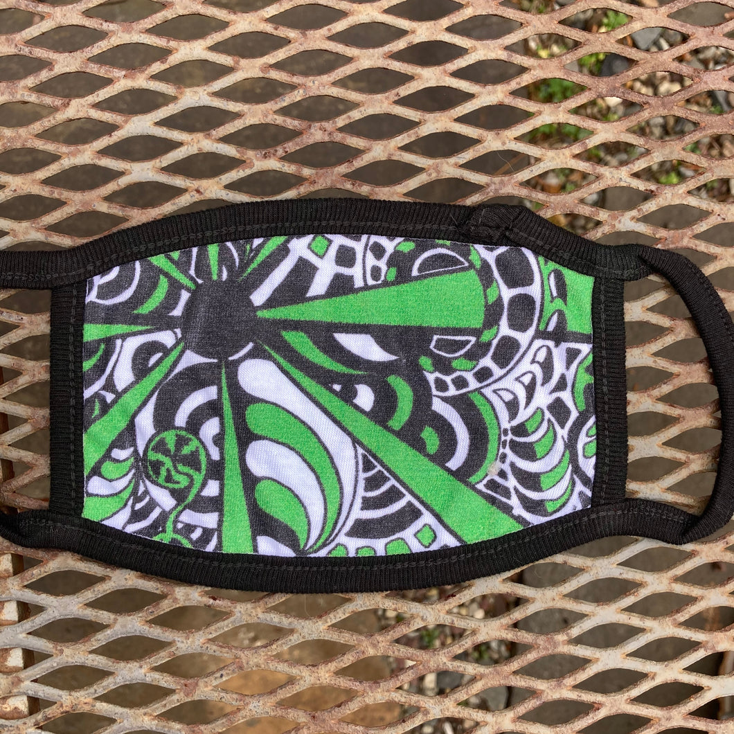 Green and Black Design Face Mask (Child & Adult sizes)