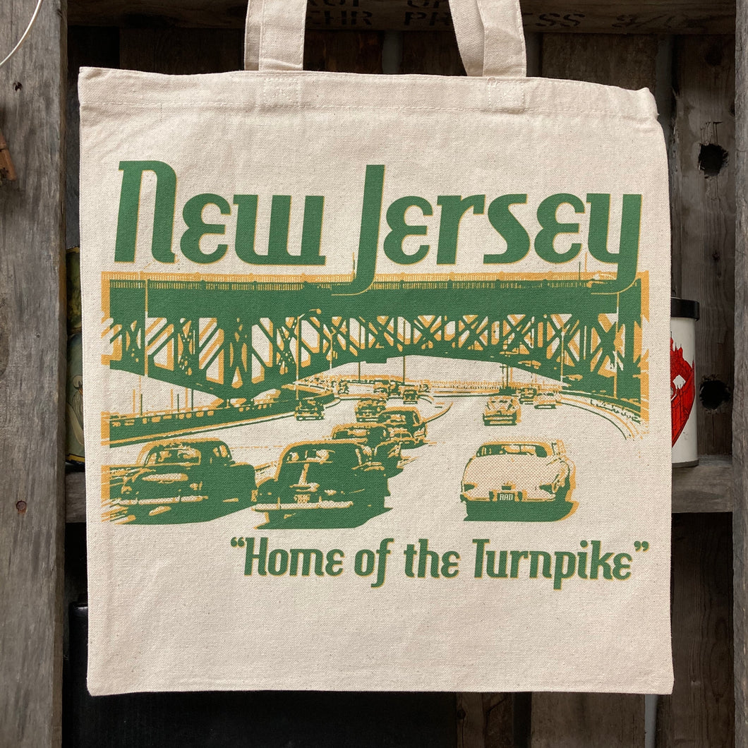 New Jersey Home of the Turnpike tote bag shirt for sale by rad shirts radcakes NJ