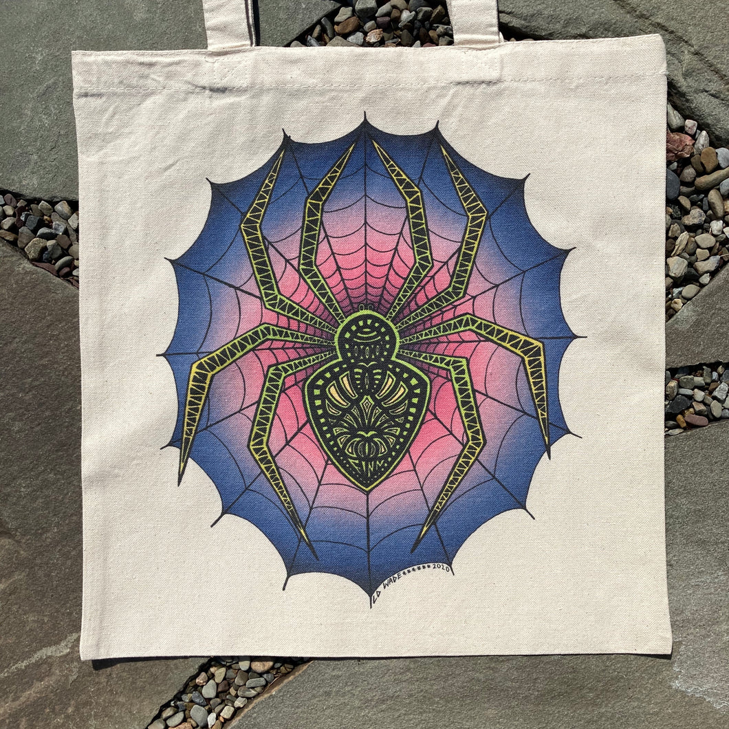 spider tote bag design for trick or treating by lauren dalrymple wade artwork for sale