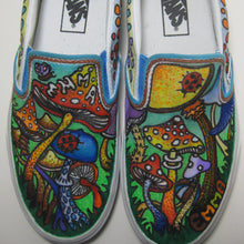 colorful mushroom artwork custom designed Vans classic slip on shoes