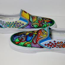 trippy patterned custom designed Vans classic slip on shoes