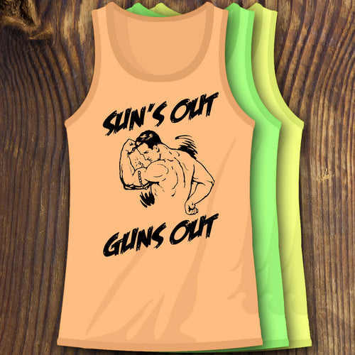 Funny Neon Sun's Out Guns Out tank tops by RadCakes