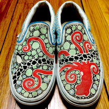 Squid and penguin patterned custom designed Vans classic slip on shoes