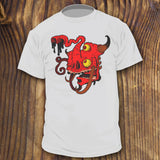 Weird red monster head shirt design by RadCakes Shirts tusks horns and eye balls