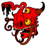 Ugly Red Monster Shirt artwork design with tusks and horns