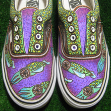 School of squid art custom designed Vans classic slip on shoes posca markers