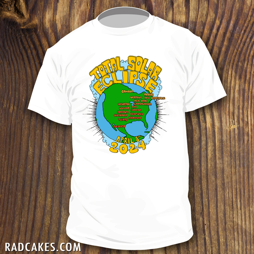 3527e89b 2024 Total Solar Eclipse shirt with USA Totality path map - RadCakes Shirt  Printing
