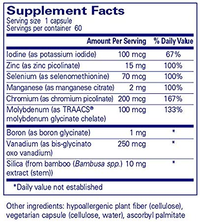 Pure Encapsulations, Trace Minerals, 60 caps