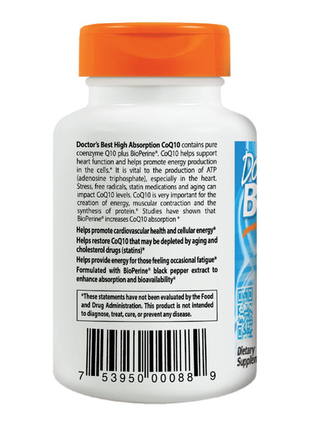 Doctor's Best, High Absorption CoQ10 with BioPerine, 100 mg, 60 soft gels