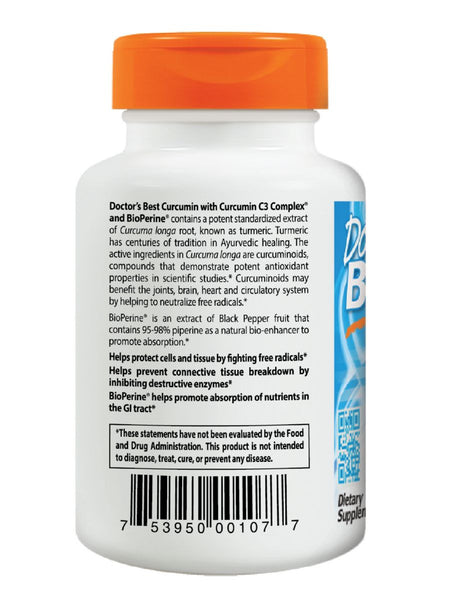 Doctor's Best, Curcumin C3 Complex with BioPerine, 500mg, 120 ct