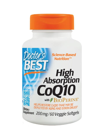 Doctor's Best, High Absorption CoQ10, 200 mg, 60 veggie softgels