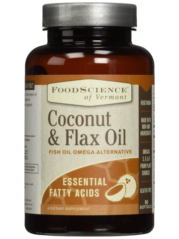 Foodscience Of Vermont, Flax & Coconut Oil, 90 caps