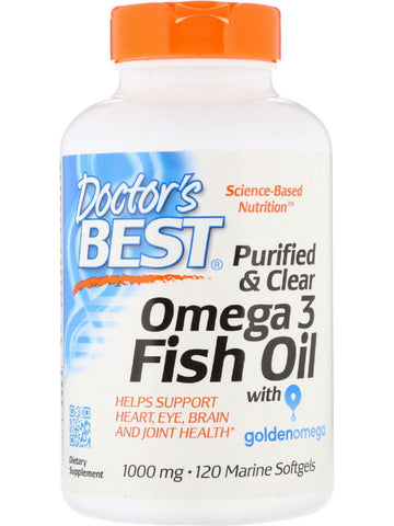 Doctor's Best, Purified & Clear Omega 3 Fish Oil, 120 softgels