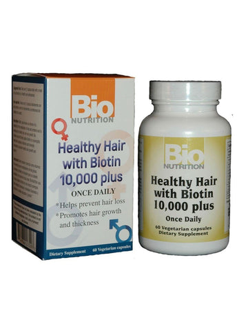 Bio Nutrition, Healthy Hair Biotin 10 000mcg, 60 vegicaps
