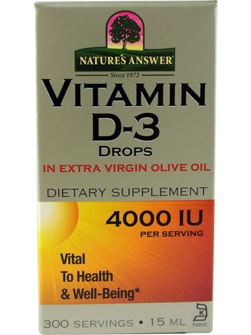 Vitamin D-3 Drops 4000IU, 0.5 oz, Nature's Answer