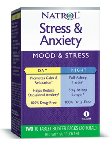 Natrol, Stress & Anxiety Day & Nite Formulas, 10 PKT