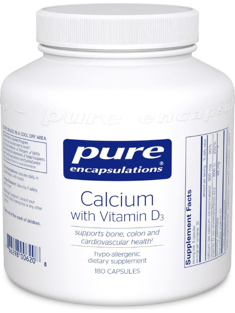 Pure Encapsulations, Calcium with Vitamin D3, 180 vcaps