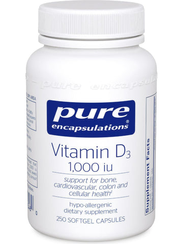 Pure Encapsulations, Vitamin D3 1000 IU, 250 vcaps