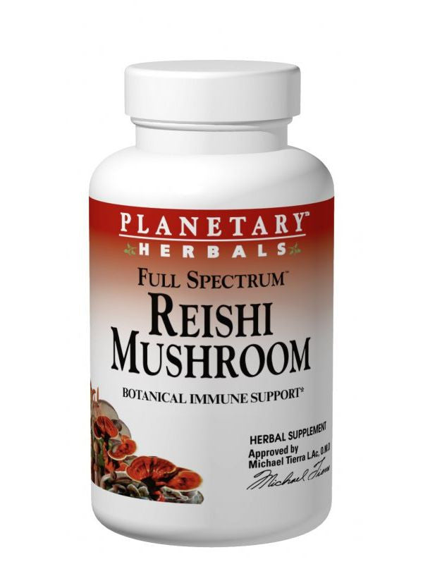 Planetary Herbals, Reishi Mushroom 460mg Full Spectrum Fruiting Body & Mycelium, 50 ct