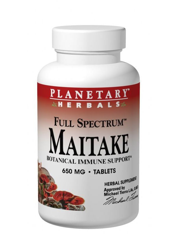 Planetary Herbals, Maitake Mushroom 600mg Full Spectrum Fruiting Body & Mycelium 600mg, 120 ct