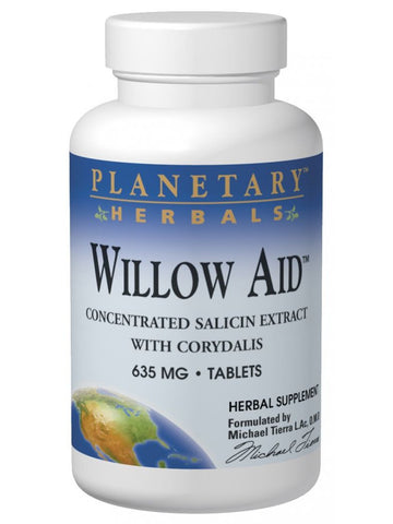 Planetary Herbals, Willow Aid Std 7.5% Salicin, 60 ct
