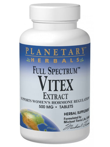 Planetary Herbals, Vitex 500mg Full Spectrum Std 0.5% Agnusides, 120 ct