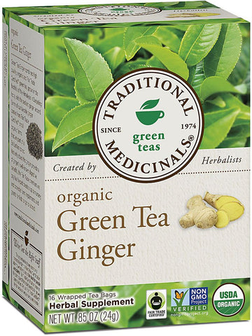 Traditional Medicinals, Organic Green Tea w/Ginger, 16 bags