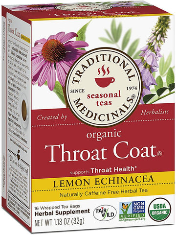 Traditional Medicinals, Lemon Echinacea Throat Coat Tea, 16 bags