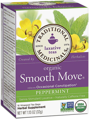 Traditional Medicinals, Smooth Move Peppermint Tea, 16 bags