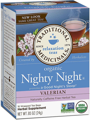 Traditional Medicinals, Organic Nighty Night Valerian, 16 bags