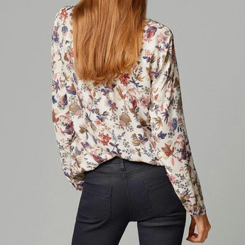 Vintage Floral Print Blouse - Long Sleeve V Neck Shirt / Casual Loose S-XL / Boho Pullover Cotton